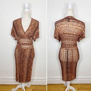 LAUNDRY SHELLI SEGAL knit V neck midi dress